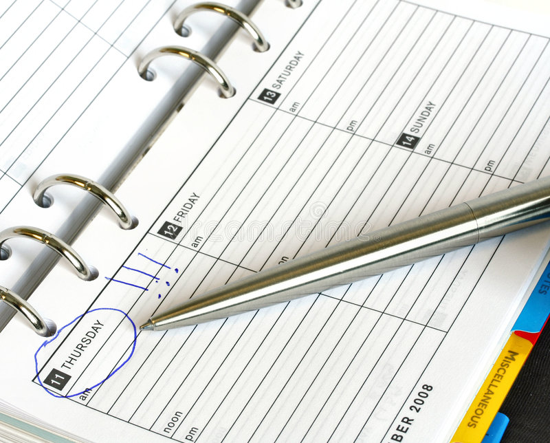 Download Business Diary And Pen Thursday Stock Photo - Image: 5708418