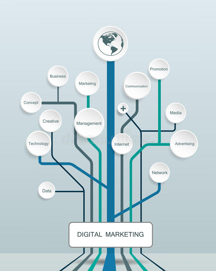 Business Digital marketing concept and abstract tree shape royalty free illustration