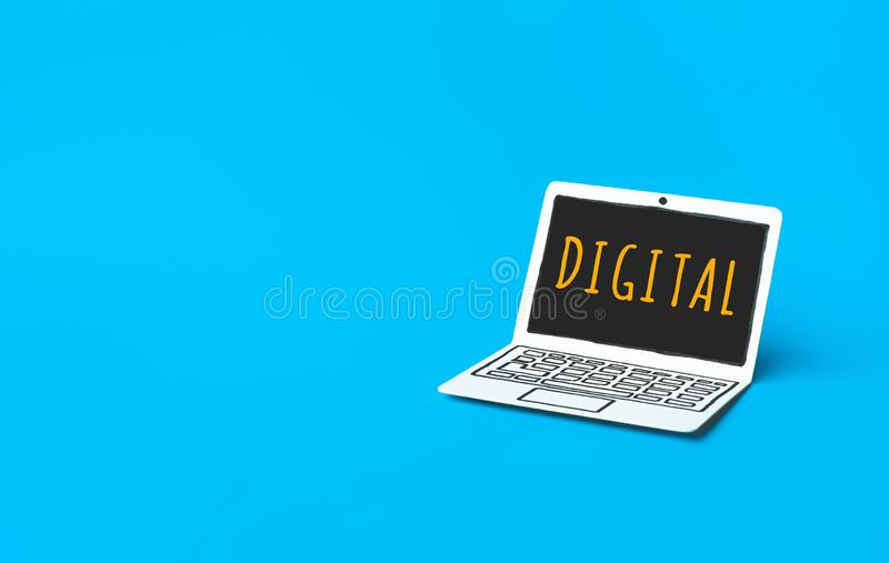 Business digital marketing concepts with text on paper mockup laptop. innovation strategy for success royalty free stock photography