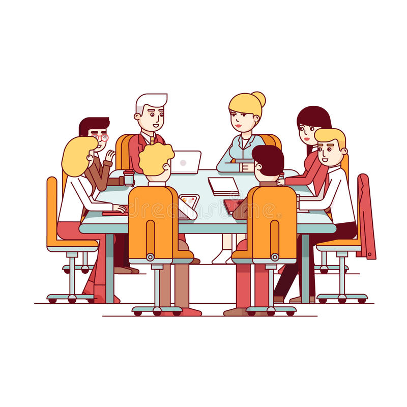 Business directors meeting at conference desk. Board of Directors meeting at a big conference desk. Business executives people working and talking together stock illustration