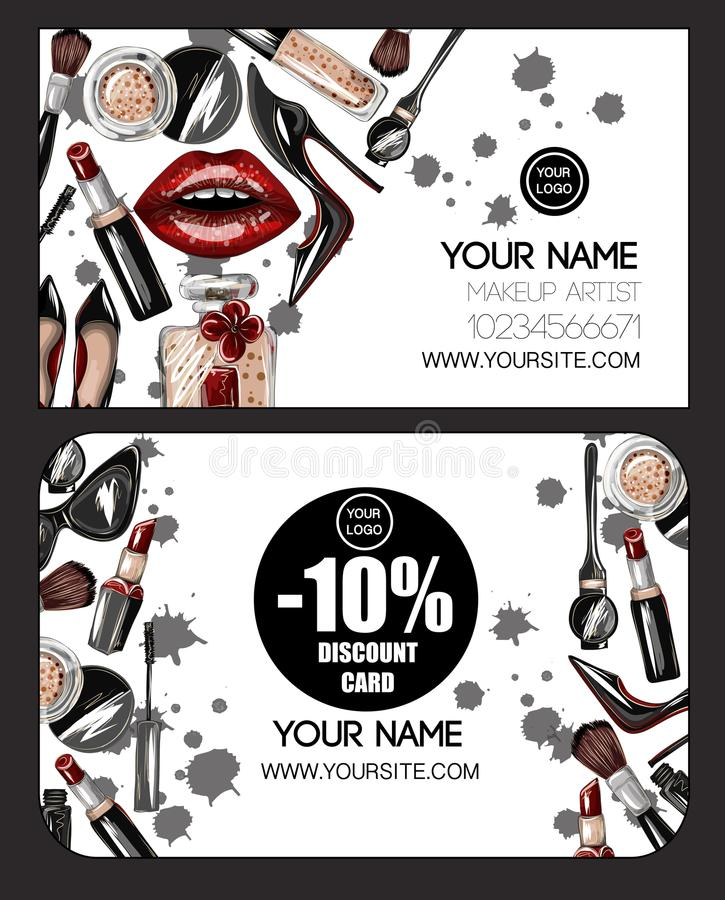 Business and discount card for makeup artist with crop top, lips, shoes. Makeup patches vector illustration. royalty free illustration