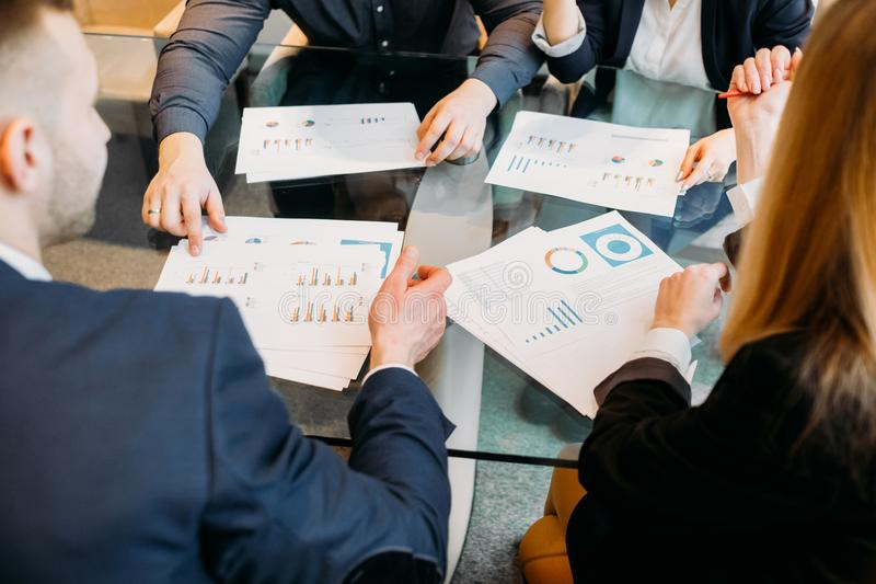 Business discussion document diagram data review stock photos