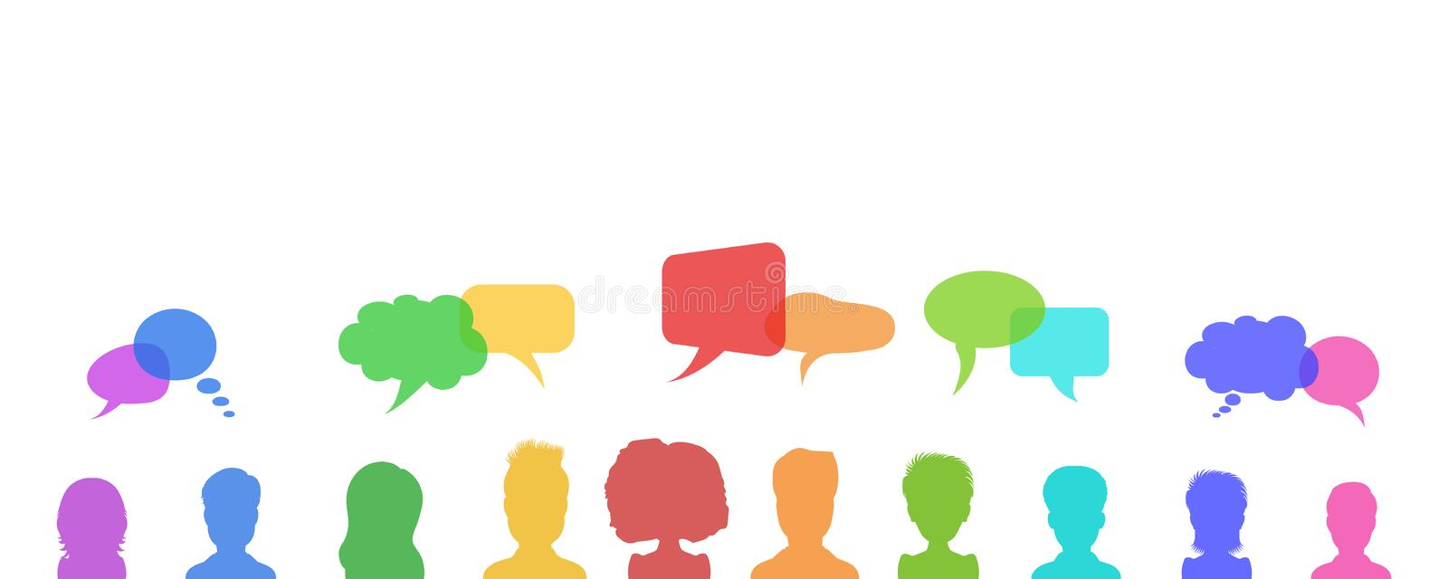 Business discussion or people talking, chat dialogue speech bubbles, news or social network design concept. Flat style. vector illustration