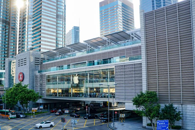 HONG KONG, CHINA — May 2018, business district on the Coulon waterfront, Apple Mall stock photos