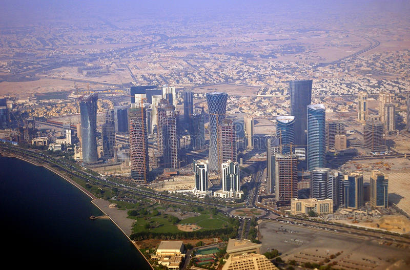 Business district, Doha, Qatar stock images