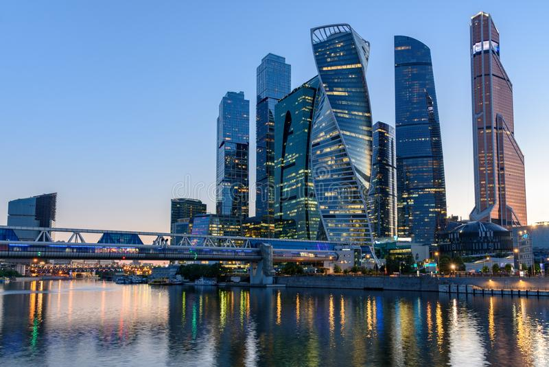 Business district in Moscow - Moscow International Business Center `Moscow City`, Russia. Modern skyscrapers in Moscow royalty free stock image
