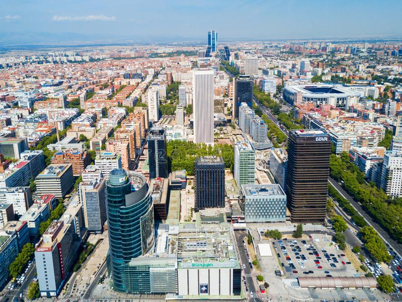 Business districts of AZCA and CTBA in Madrid, Spain. Aerial panoramic view of business districts of AZCA and CTBA in Madrid, Spain royalty free stock photography