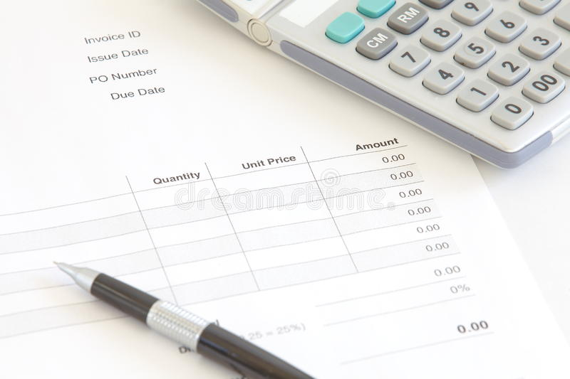 Business Document Invoice stock images