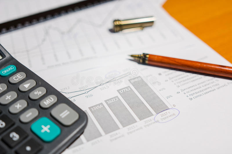 Business documents. Analysis of calculation of graphics, chart royalty free stock image