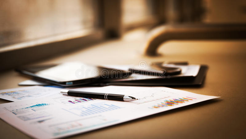 Business documents with charts growth stock photo