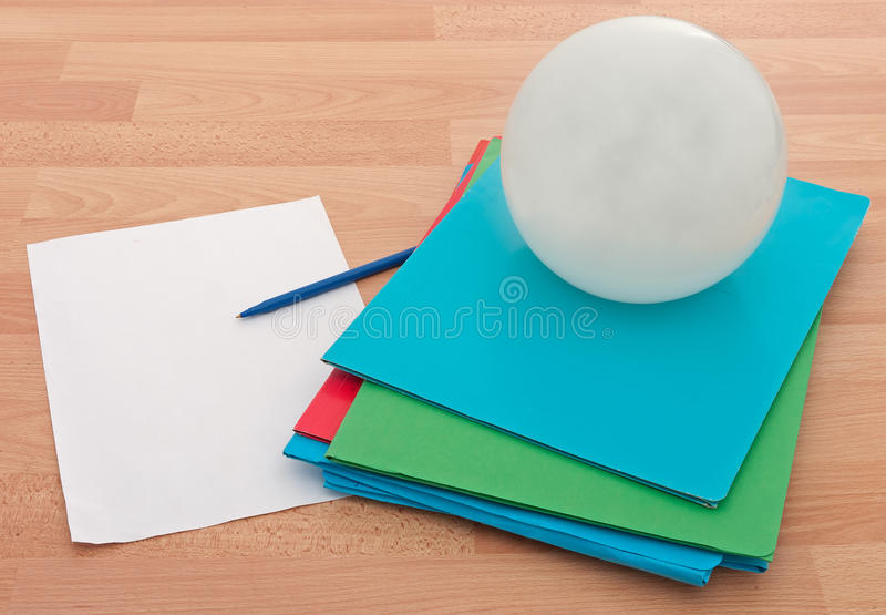 Business Documents With Crystal Ball Royalty Free Stock Photos