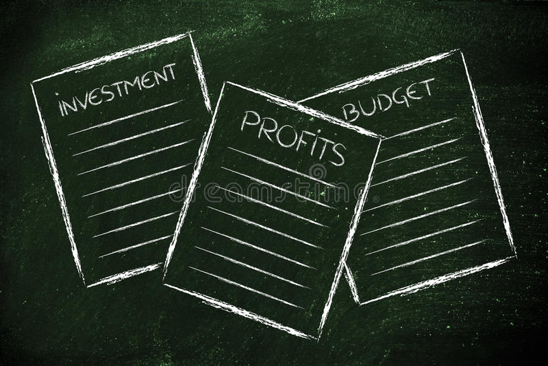 Business documents: investment, profits, budget vector illustration