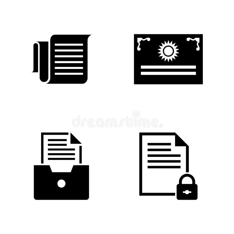 Business Documents. Simple Related Vector Icons. Set for Video, Mobile Apps, Web Sites, Print Projects and Your Design. Business Documents icon Black Flat stock illustration
