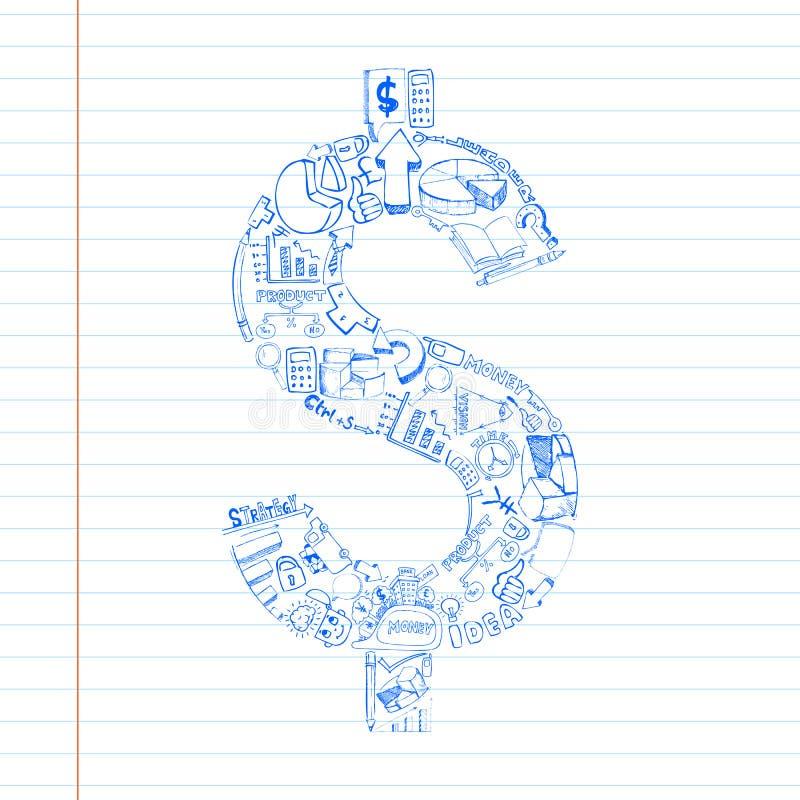 Business Dollar Doddle vector illustration