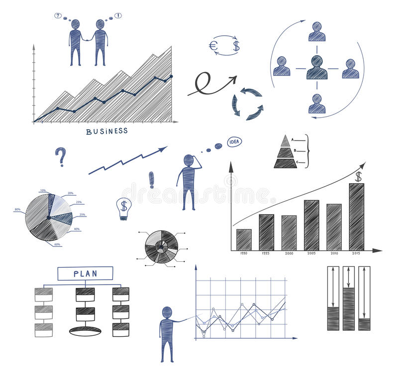 Business Doodle Elements Of Infographics Business Plan Financ