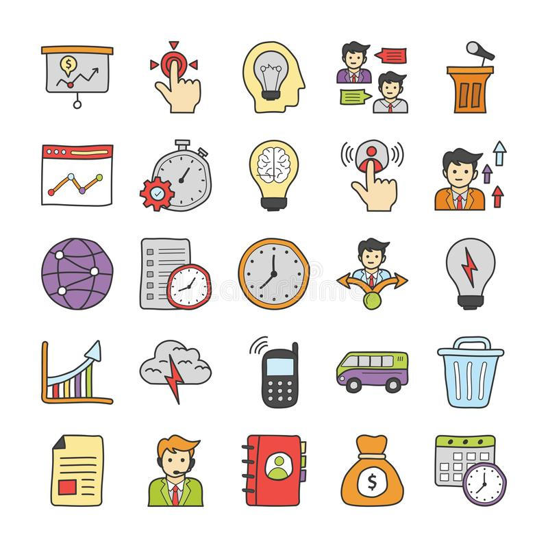 Business Doodle Icons Set stock illustration