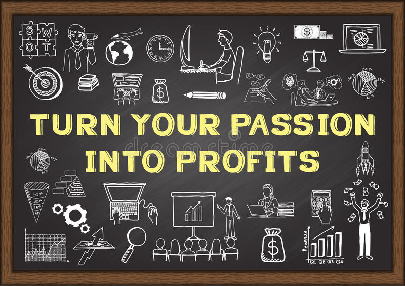 Business doodle with phrase TURN YOUR PASSION INTO PROFITS on chalkboard stock illustration