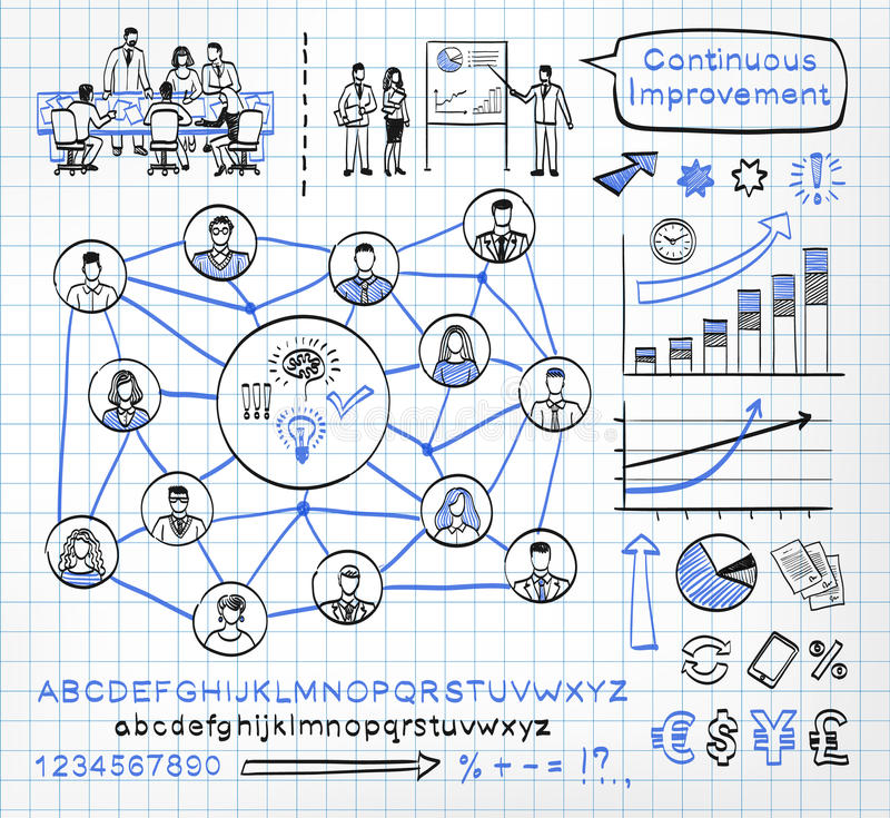 Business doodle se. T on paper background. Vector sketch icons in black and blue colors. Brainstorming. Team work. Connecting people. Hand drawn letters of royalty free illustration