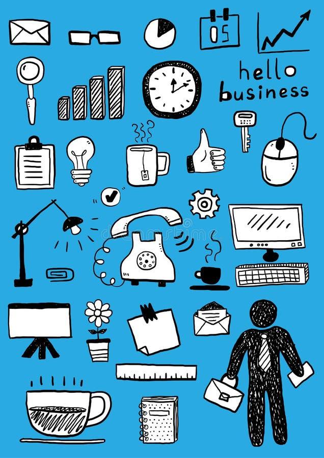 Business doodle sketch set. Vector hand drawn illustration stock illustration