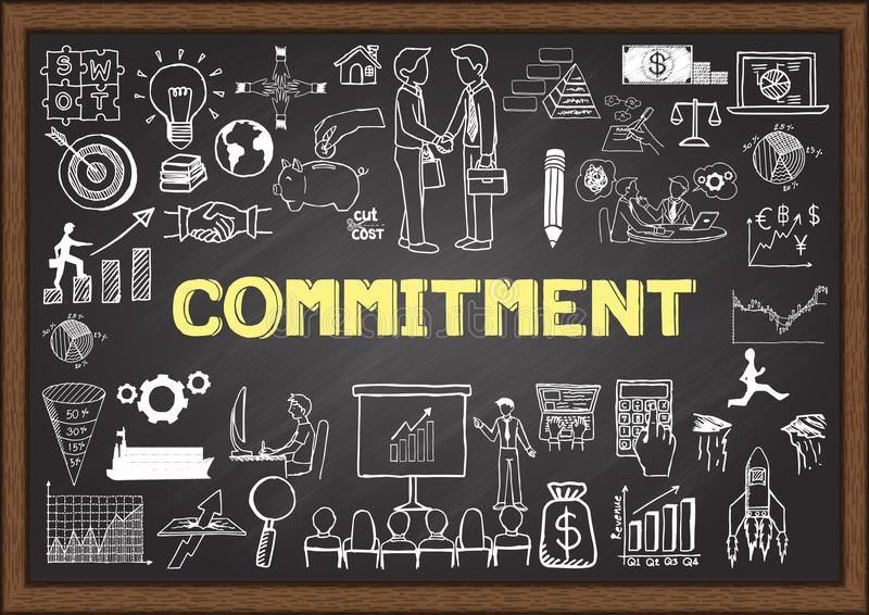 Business doodles with the concept of COMMITMENT. stock illustration