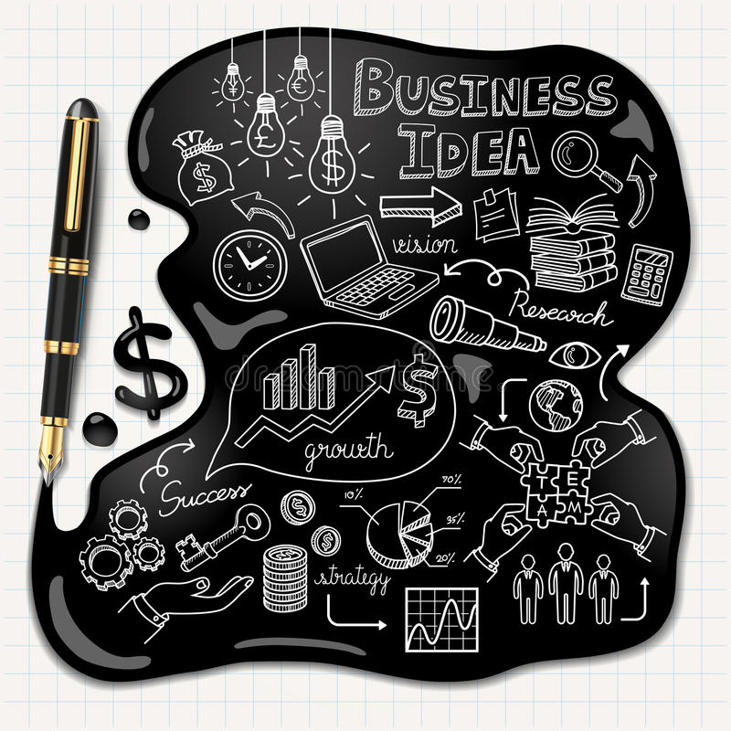 Free Business Doodles Icons Set. Ink Concept. Royalty Free Stock Photos - 41049868