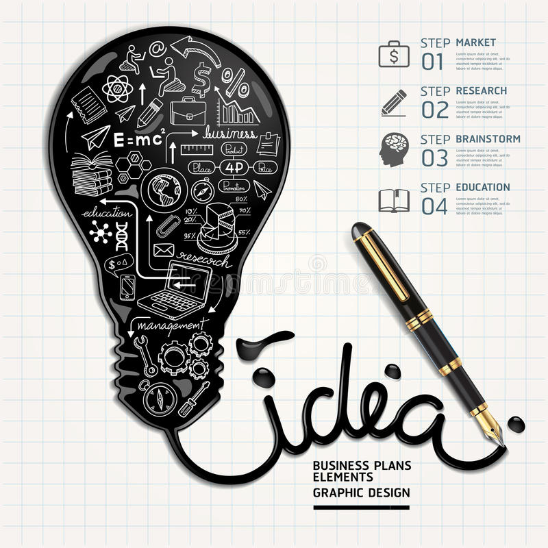 Free Business Doodles Icons Set. Ink Shaped Light Bulb Stock Images - 41049864