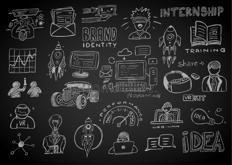 Business doodles Sketch set : infographics elements isolated, vector shapes stock illustration