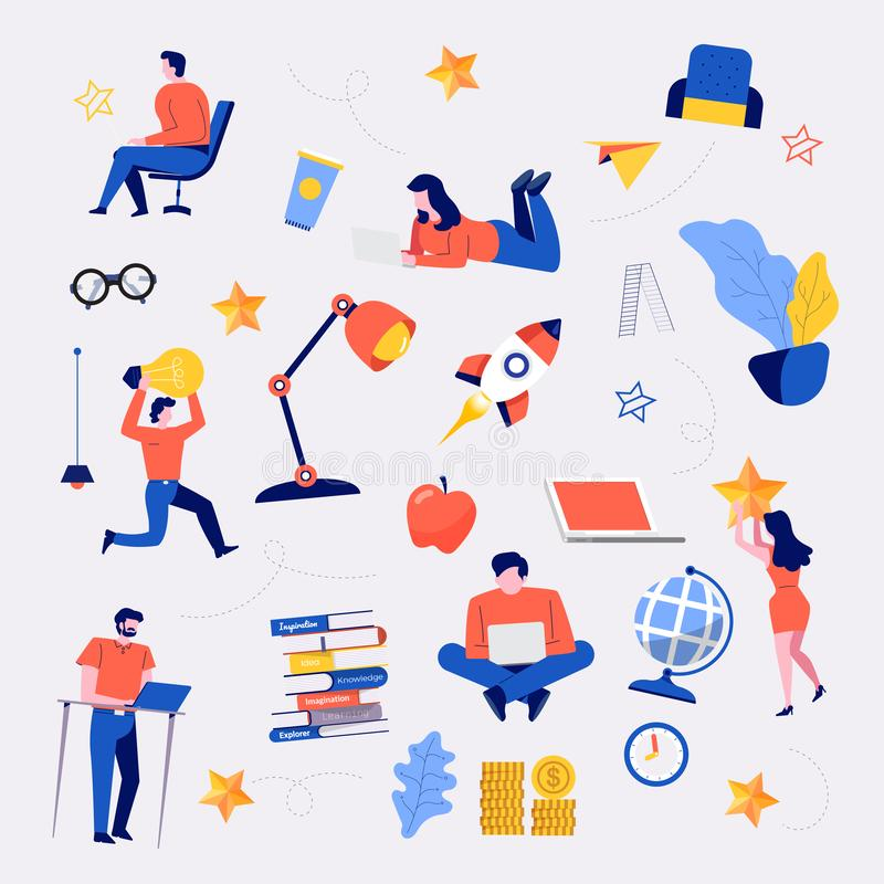 Business doodles vector set royalty free illustration