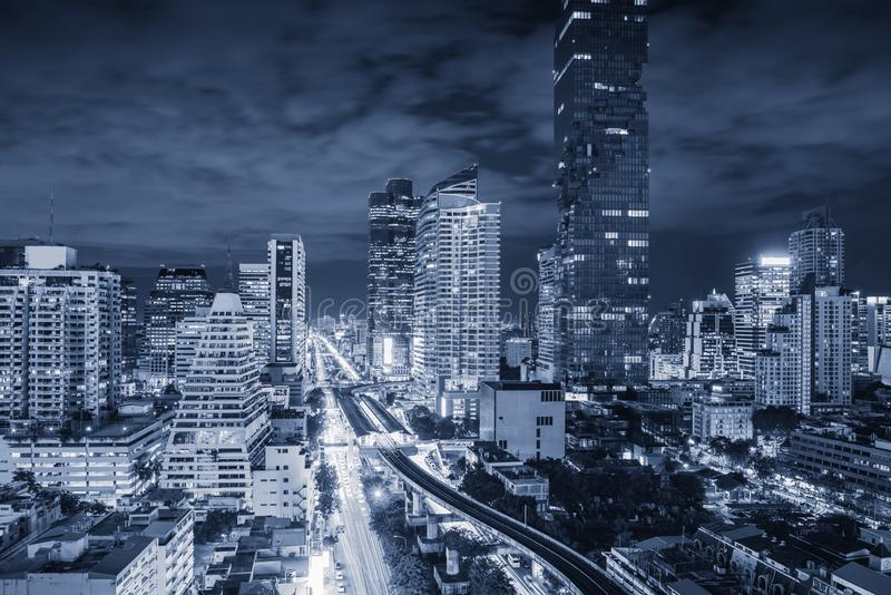 Business downtown and financial center of Bangkok, Thailand. Landmark and cityscape skyscraper buildings at night scene., royalty free stock photos