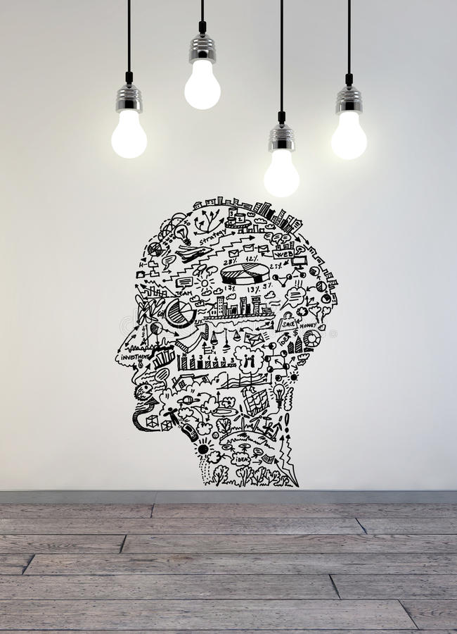 Business drawing in shape of man head with lamps above stock photography
