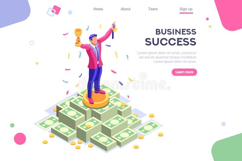 Business Man Earn Increase Competition Application. Header, screen increase, competition interface. Earn application, can use for web banner, infographics, hero vector illustration