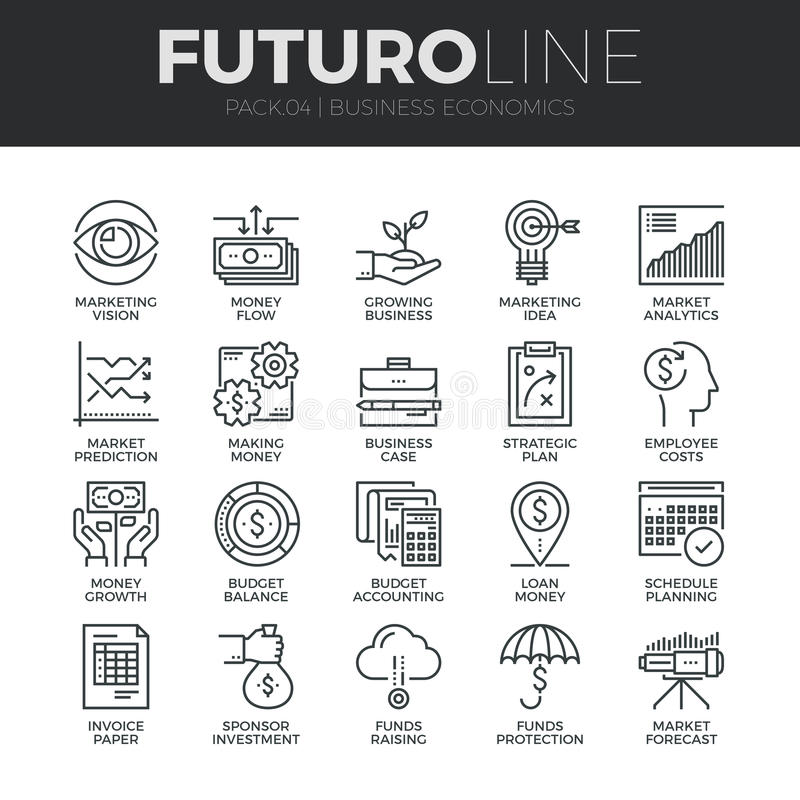 Business Economics Futuro Line Icons Set vector illustration