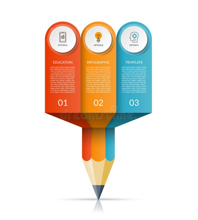 Business education pencil infographic template stock illustration