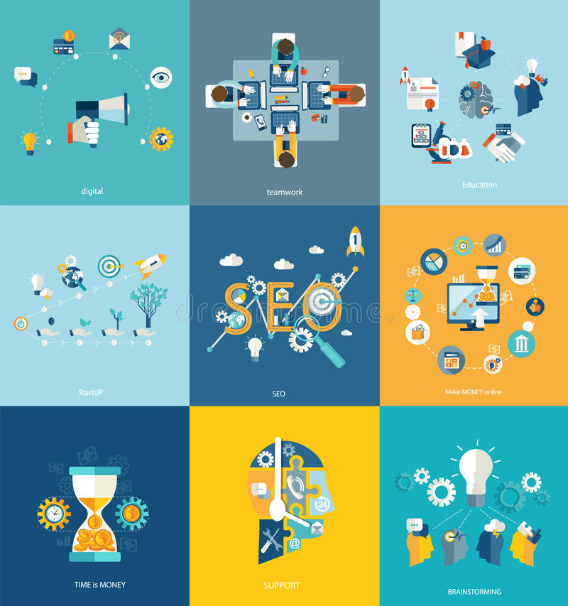 Business, education, science concept. vector illustration