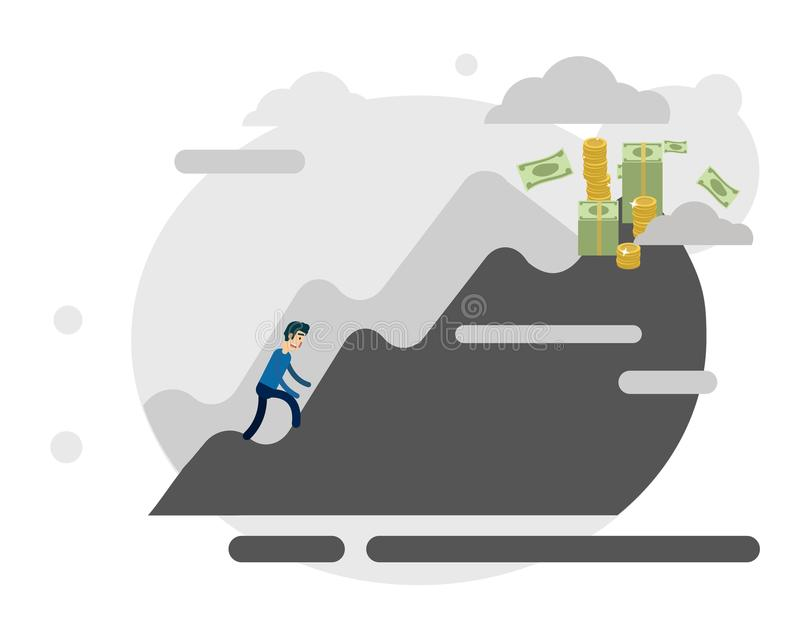 Business effort motivation. Business effort: an climbing the mountain metaphorically imitating the effort of success. Vector stock illustration