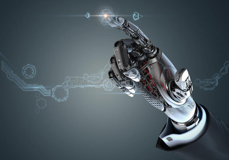 Business Electronic Bionic technology in digital world. High detailed robotic hand in business suit touching virtual point with index finger. Bionic technology stock illustration