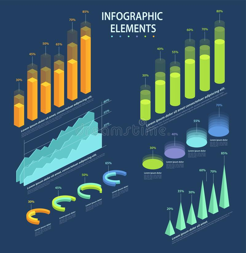 Business elements of infographic, a set of statistical data stock illustration