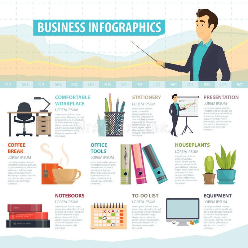 Business Elements Infographic Template. With office stationery equipment furniture and tools vector illustration stock illustration