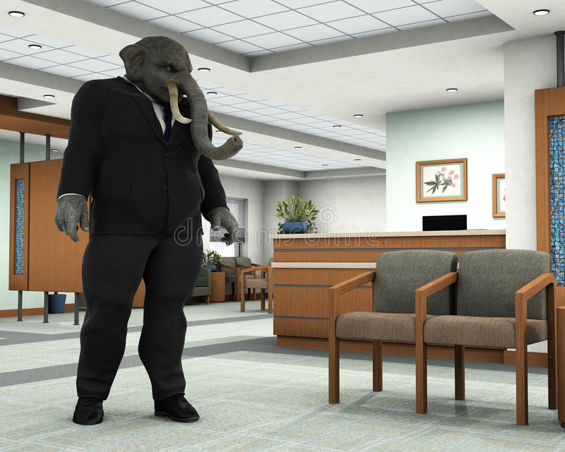 Business Elephant, Businessman, Sales Office vector illustration