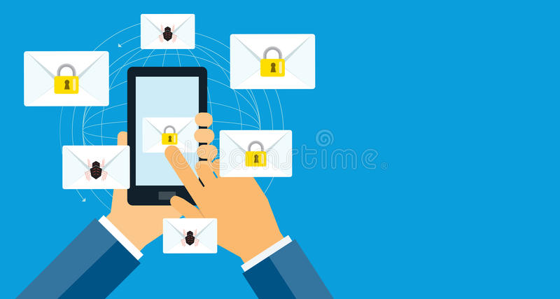 Business email marketing message security on mobile concept. royalty free illustration
