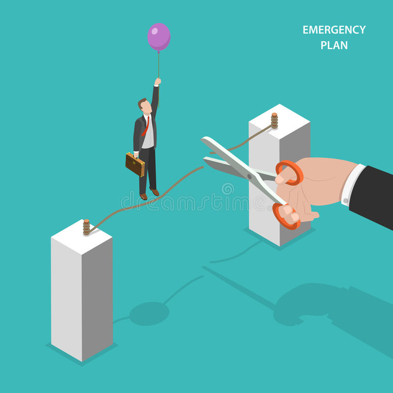 Business emergency plan isometric vector concept. royalty free illustration