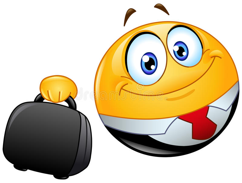 Business emoticon. Holding a briefcase