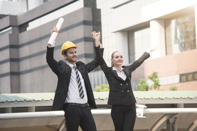 Business engineer showing hands up. concept good job and success stock photo