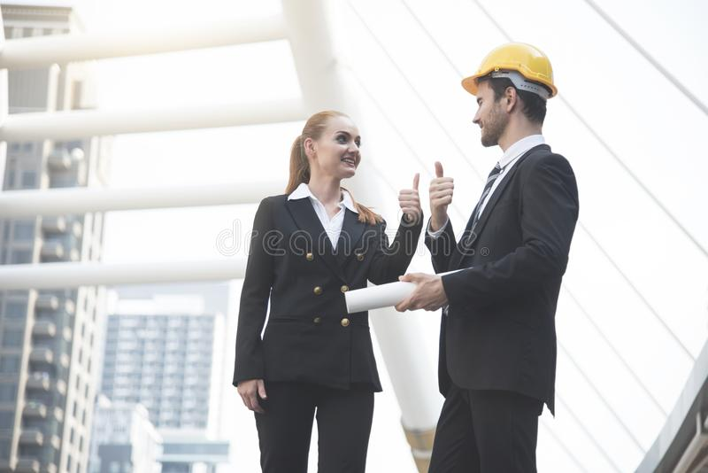 Business engineer showing thumbs up. concept good job royalty free stock photos