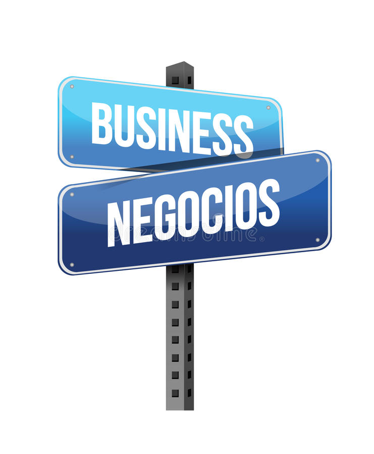 Business In English And Spanish Sign Illustration Stock ...