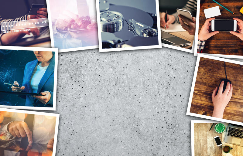Business and entrepreneurship photo collage. Over gray concrete background stock image