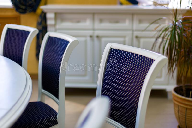 Business environment for negotiations at the highest level. Chairs and part of the round table.  royalty free stock image