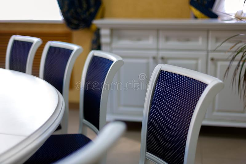 Business environment for negotiations at the highest level. Chairs and part of the round table.  stock photo