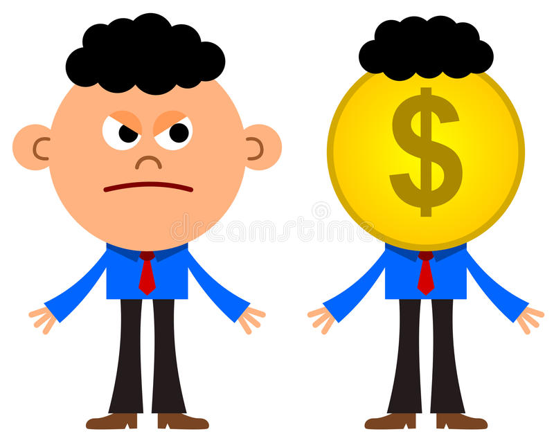 Business envy. An illustration of a business man looking very envious at a business man with a dollar coin head vector illustration