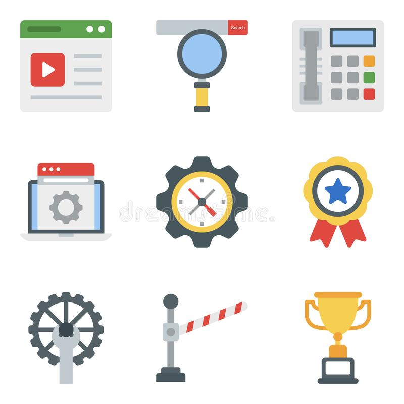 Business Equipment Flat Icons Pack royalty free stock images